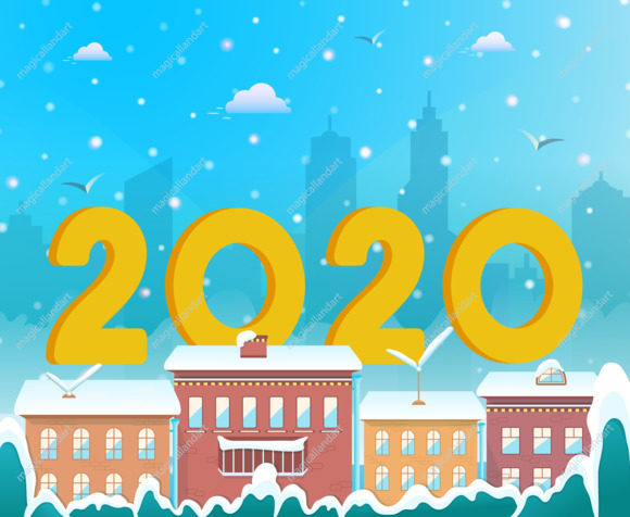 Merry Christmas and 2020 Happy New Year text design with golden numbers on city winter background