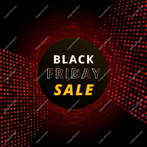 Black Friday sale banner with neon light. Christmas shopping