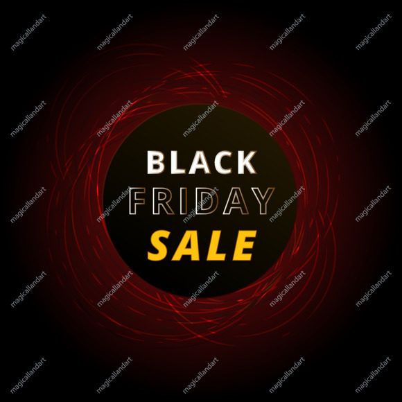 Black Friday sale banner with abstract red neon circles isolated on black background