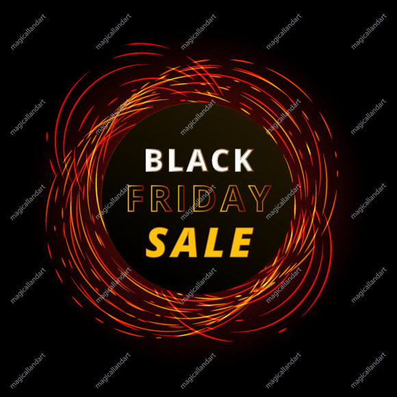 Black Friday sale banner with red neon lights circles. Christmas and New Year shopping.