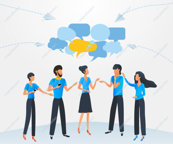 Group of people talking with dialogue speech bubbles, businessmen discuss social network, chat