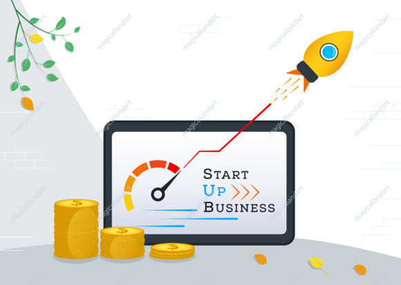 Vector illustration of business startup, rocket launch, opening of a new online start up, financial investments in ideas online