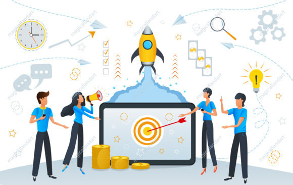 startup business growth or success cartoon team people working on project planning and management seo strategy magicalland art download creative vector images and illustrations magicalland art
