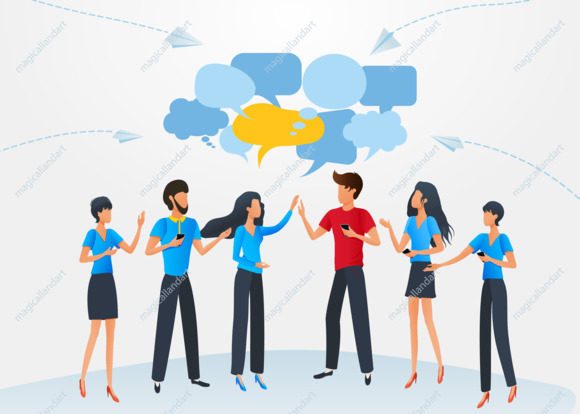 Vector illustration, flat style, group of business people chat communication dialogue speech bubbles, cartoon characters