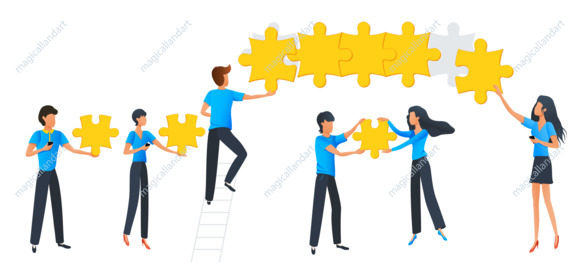 Teamwork business concept. Team at work. Group of people connecting puzzle elements. Flat design vector illustration