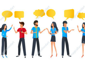 People group chat communication dialogue speech bubbles, businessmen discuss social network, cartoon characters