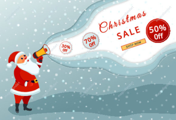 Christmas sale promotional banner with Santa Claus with megaphone on winter background with snow. Special offer, holiday discount banner