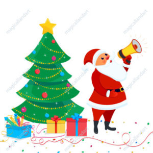 Set of vector cartoon Christmas design elements with cute Santa Claus holding megaphone, tree, gift boxes, confetti. Happy New year