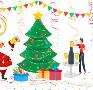 Christmas design elements set, cute Santa Claus, family decorating christmas tree at home. Clipart for Merry Christmas, Happy New year