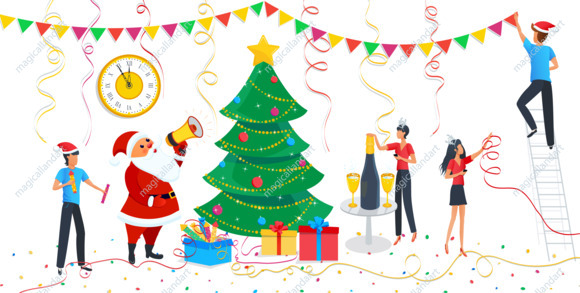 Christmas Design Elements Set Cute Santa Claus Family Decorating Christmas Tree At Home Clipart For Merry Christmas Happy New Year