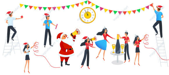 Christmas cartoon people characters vector set, cute Santa Claus, champagne bottle with glasses, golden clock, colorful garland