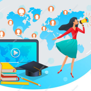 Online education, training courses, specialization or webinar - woman with megaphone making announcement