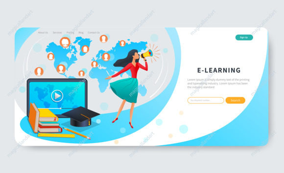 Online education, courses, e-learning web banner, woman with megaphone near tablet with video, distance education