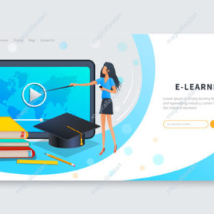 Online education courses, distance learning or webinar. Teacher or tutor teaches group of students from different countries online