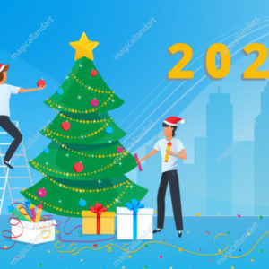 Happy New Year 2020 greeting card. Small business people preparing for the new year party in the office and decorating christmas tree
