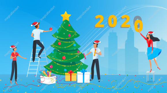 Happy New Year 2020 greeting card. Small business people preparing for the new  year party in the office and decorating christmas tree - Magicalland Art -  Download creative vector images and illustrations