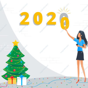 Holiday greeting card for Merry Christmas and Happy New Year 2020 with golden numbers, young business woman preparing to meet new year at office