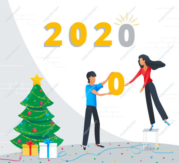 Small business people are preparing for the New Year party in the office, corporate team building the new year gold numbers 2020