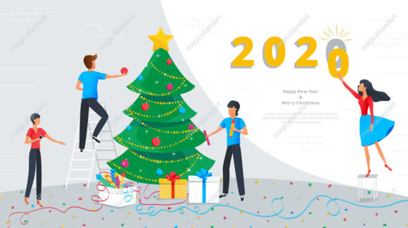 Merry Christmas and Happy New Year 2020 greeting card, small business people are engaged in decoration of christmas tree and preparing gift boxes