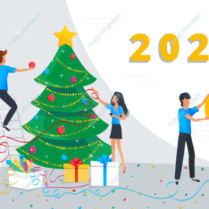Small business people are decorating christmas tree in the corporate office at work and preparing for Merry Christmas and Happy New Year 2020 celebration