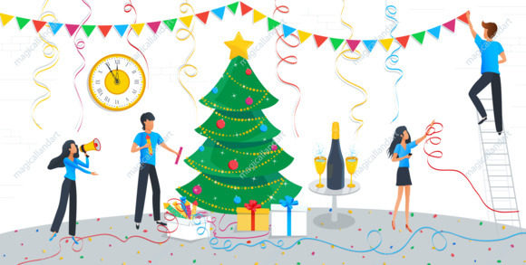 Greeting card for Merry Christmas and 2020 Happy New Year eve, group of business people are engaged in decoration of christmas tree