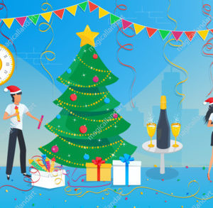 Group of business people are preparing for the christmas party and decorating christmas tree in the corporate office at work. New year 2020
