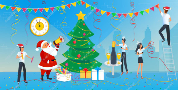 Merry Christmas and 2020 Happy New Year eve greeting card, Santa Claus and group of business people are engaged in decoration of christmas tree