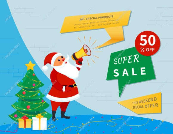 Christmas sale banner template, Santa Claus with megaphone, decorated christmas tree. Special offer, holiday discount banner