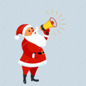 Cute Santa Claus with megaphone announcement, design element for christmas or new year sale banner, poster, greeting card