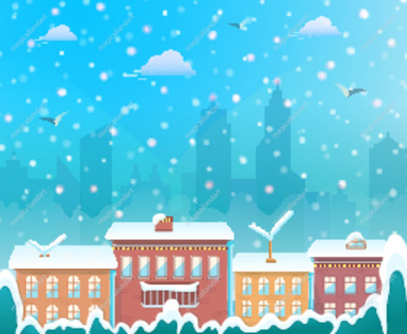 Merry Christmas, city on winter background, cozy snowy town at holiday eve, christmas village for greeting and postal card