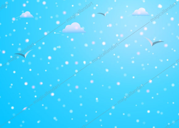 Colorful fallign christmas snow on blue sky background with clouds, birds silhouettes, snowfall and snowflakes