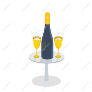 Champagne bottle and golden glasses with sparkling wine on the table, isolated on white background. Wineglass with fizzy drink