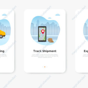 Express online delivery service app, tracking an order using smartphone, delivery man and van on city background