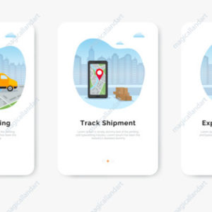 Delivery service concept, smartphone with map for shipment tracking, delivery man and van against city background