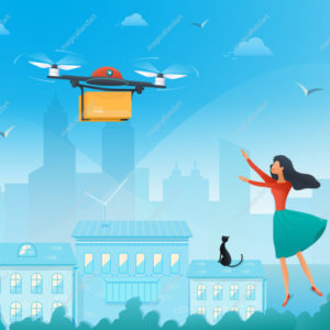 Drone delivery service concept with young woman waiting for parcel from online store on city background