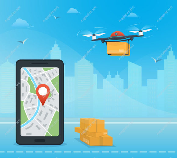 Drone delivery service with the package against city background. Smartphone with mobile app for shipment tracking