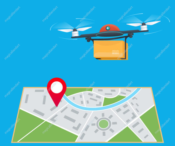 Drone delivery service concept. Quadcopter flying over a map with location pin and carrying a package to customer
