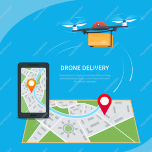 Drone delivery concept. Cartoon quadcopter flying over a map with location pin and carrying a package to customer