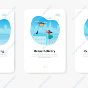 Drone delivery service concept, tracking an order using smartphone, young woman receiving parcel against city background