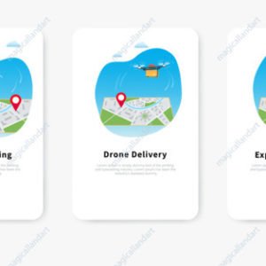 Express drone delivery service, quadcopter carrying package over map with location pin, mobile phone gps map for shipment tracking