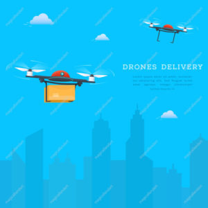 Drone fast delivery concept, two quadcopters flying with cityscape background. Air drones carrying package into urban city