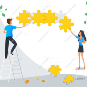Vector illustration of teamwork business concept. Team metaphor. Group of people connecting puzzle objects. Flat design element