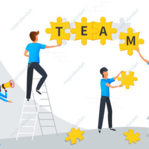Teamwork business concept. Team metaphor. Group of businessmen build word team from puzzle elements