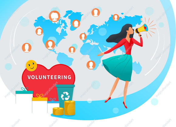 Volunteering and collecting donation vector illustration concept. Young woman with megaphone call for volunteer community support