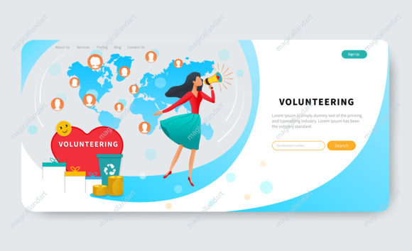 Landing page template with volunteer woman, call for community support and standing near big red heart. Volunteering