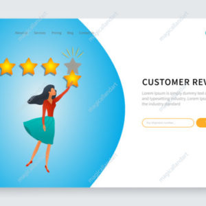 Customer review, online feedback, young woman with five stars positive review, rating system. Banner, ad, landing web page template