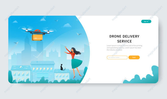 Delivery service landing page with drone and young woman waiting for parcel from online store on city background. Shipping web banner