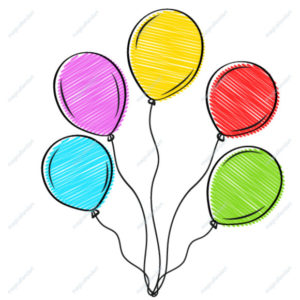 Beautiful hand drawn doodle balloons red, yellow, blue, green for greeting card design decoration. Vector illustration