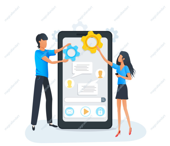 Mobile app development and coding. Process of building mobile application user interface for smartphone or tablet
