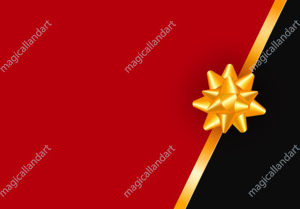 Greeting card template with golden bow and ribbon. Luxury premium New Year or Christmas holiday gift card